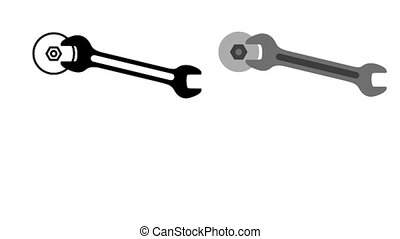 The wrench tightens the nut. Spanner pictogram. Animated...