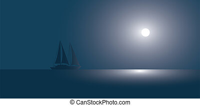 The yacht at the ocean against the