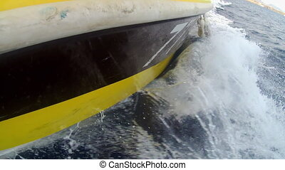 The yacht nose - Close-up of the nose of a cutting wave...