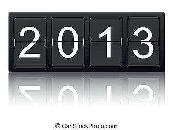 The year 2013 on digital display