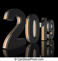The year 2019 in silver, gold, grey as 3D render is diagonal and mirrored in front of a black background