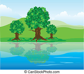 Year landscape - The Year landscape.Tree are reflected in...