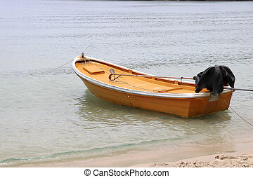The yellow boat is parked on the beach.