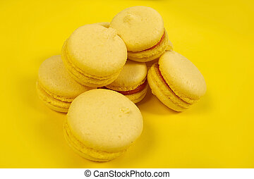 yellow cakes on a yellow background, layout