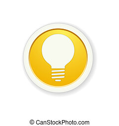 the yellow glossy circle button with bulb pictogram