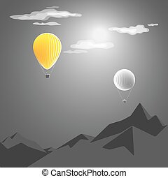 yellow hot-air balloon