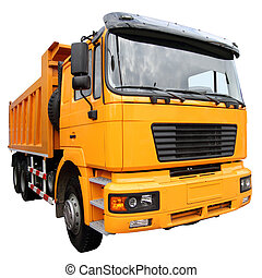 The yellow lorry isolated on a white background
