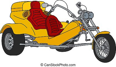 The yellow motor tricycle - The hand drawing of a yellow...