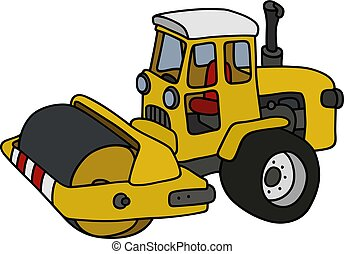 The yellow road roller