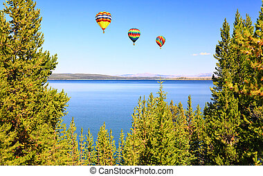 The Yellowstone lake in the Yellowstone National Park