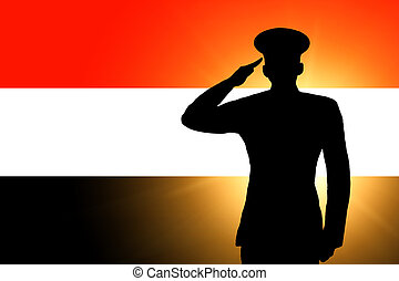 The Yemeni flag and the silhouette of a soldier's military ...