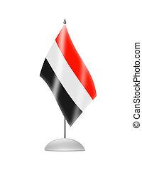 The Yemeni flag. Table Flag. Isolated on white.