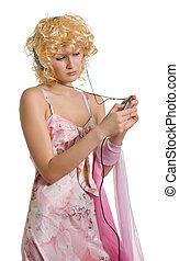 blonde girl in earphones