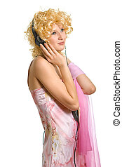 blonde girl in headphones