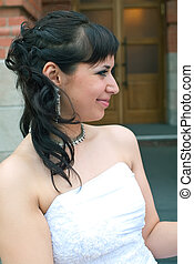 bride against abstract background