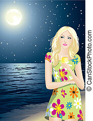 night - The young beautiful girl enjoys a starlit night