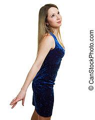 beautiful girl in a blue dress