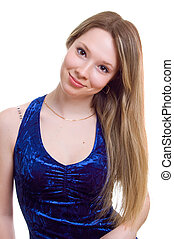 young beautiful girl in a dark blue dress