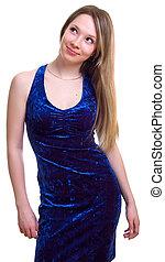 beautiful girl in a dark blue dress