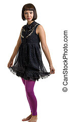 beautiful girl in a dark dress