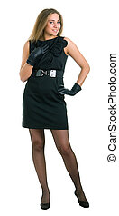 girl in a little black dress and gloves