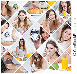 The young beautiful girl in bed at home. collage