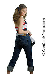girl in jeans and cap