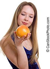 girl with orange grapefruit