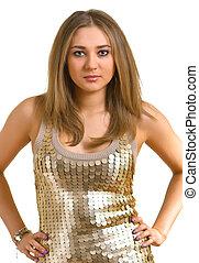 young beautiful women in a golden dress