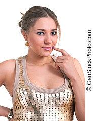 women in a golden dress