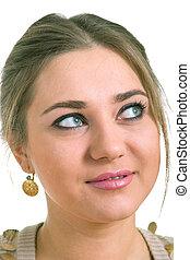 women in a golden earrings