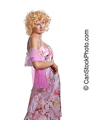 blonde girl in a pink dress