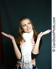 blue-eyed girl in a striped vest