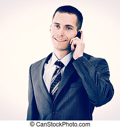 The young businessman. Isolated in white background.