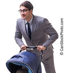 The young businessman nursing child in pram isolated on white