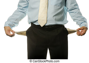 The young businessman with empty pockets