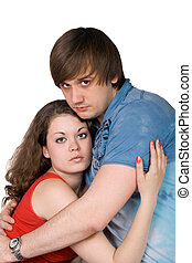 The young couple. Isolated on a white background