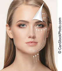 The young female face. Antiaging and thread lifting concept....