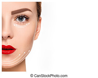 The young female face. Antiaging and thread lifting concept...