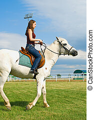 The young girl embraces a white horse against summer landscape