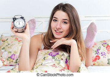 The young girl in bed
