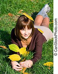 girl on a green grass