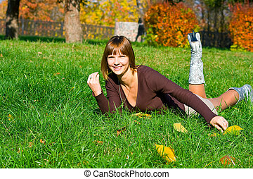 girl on a green grass