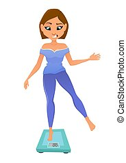 The young girl on scales control overweight