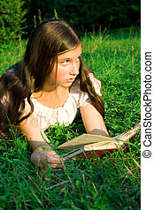 girl reads the book