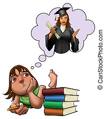 young girls with brown hair and green shirt studying with some books at her side