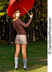 girl with a red umbrella
