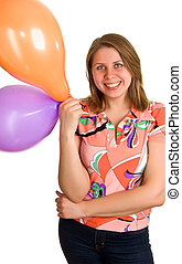 joyful women with balloons in hands