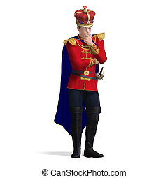 the young king out of the fairytale is thinking. 3D rendering with clipping path and shadow over white