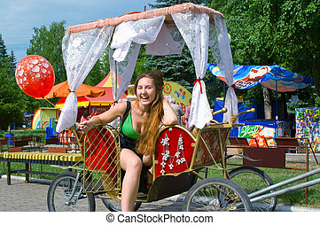 girl in the carriage
